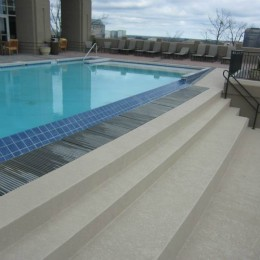 Beautiful view of the Atlanta skyline from this Vinings Infinity Edge pool!