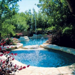 'Aqua Blue' Pebble surface for this beautiful pool in Gainesville, GA