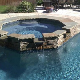 'Tropics Blue' Pebble surface and 'Blue' Italian Stone tile - Dunwoody, GA